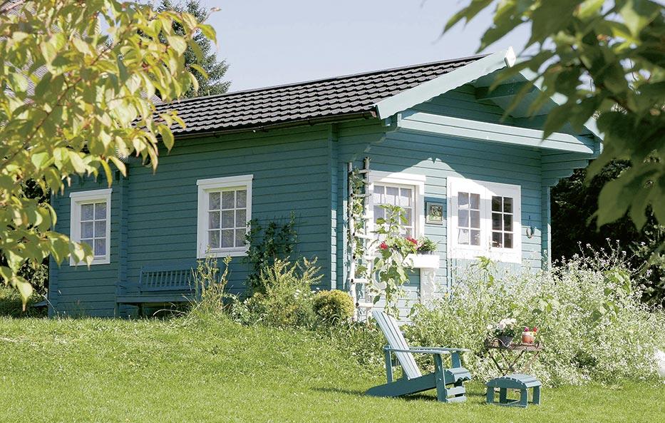 Ein Gartenhaus aus Holz von Holz-Wiegand in Würzburg.